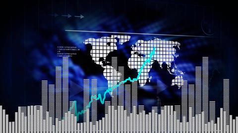 Digital composite of worldwide economic growth Animation