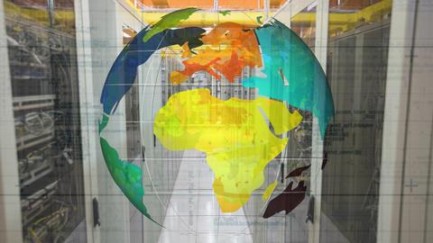 Spinning globe against data server Animation