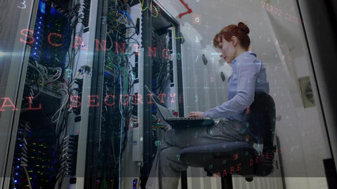 Maintaining cyber security in a server room Animation