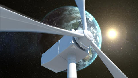 Earth and sun behind a windmill Animation