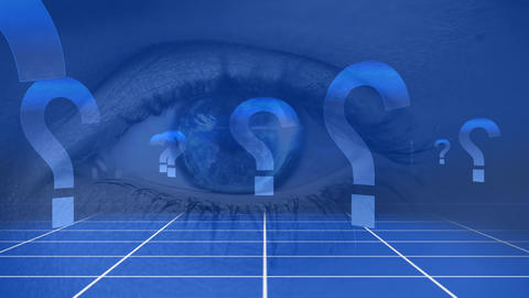 Eye opening with question marks Animation