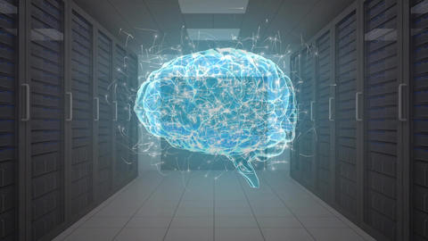 Digital brain in a server room Animation