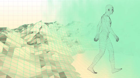 Digital composite of a walking man over a graphic mountain Animation