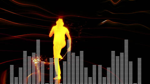Digital composite of a dancing man and digital bars Animation