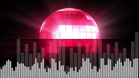 Digital composite of a disco ball and random digital bars Animation