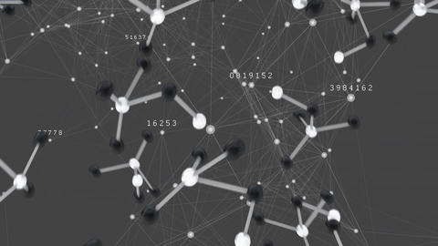 Digital composite of molecule symbol and the blockchain network Animation