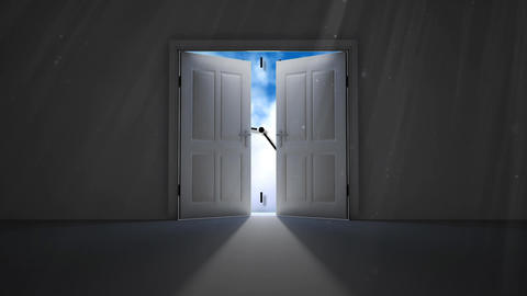 Analog clock behind two doors Animation