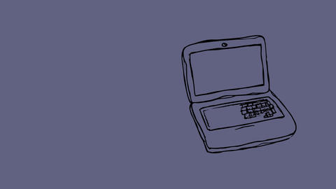 Sketch of a laptop Animation