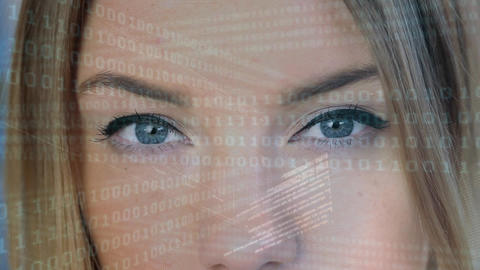 Digital composite of a woman staring at the binary system Animation