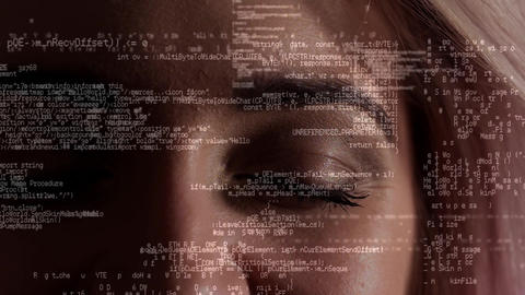 Data scrolling against a woman eye background Animation