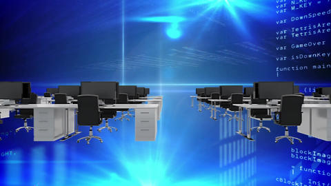 Digital composite of computer programming codes inside the office Animation