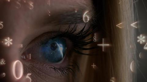 Number and mathematics symbols falling on a woman eye Animation