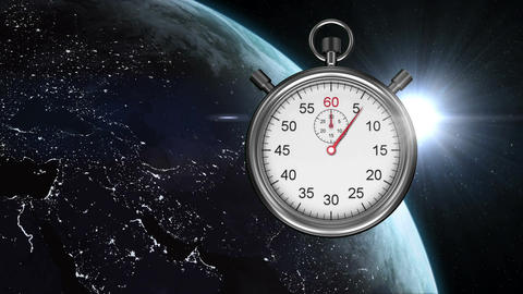 Earth from outer space and stopwatch Animation