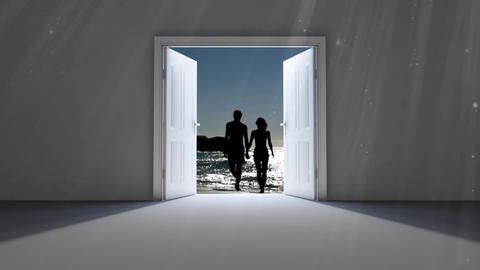 Doors opening to couple at the beach Animation