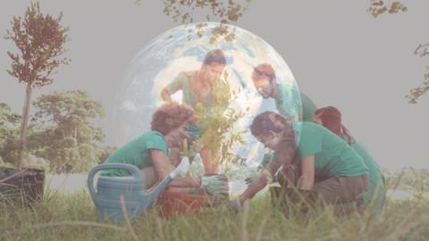 Family gardening against an animation of numeric globe Animation