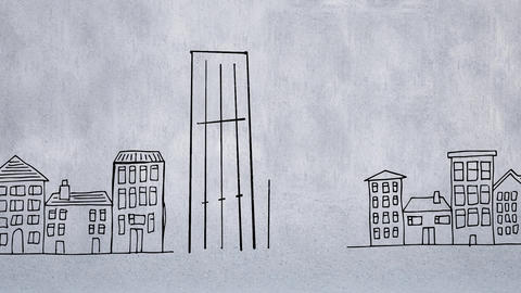 Digital animation of two buildings in a cityscape Animation