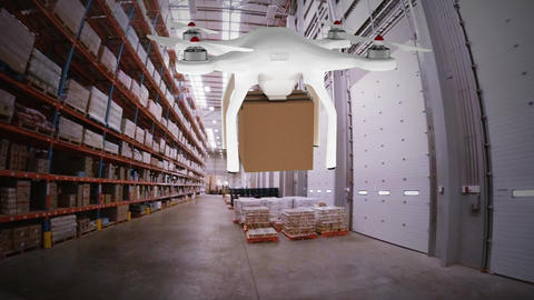 Animation of drone carrying a parcel in a warehouse Animation