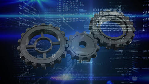gears and digital information Animation