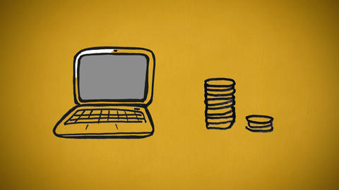 Sketch of laptop and coins being piled Animation