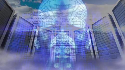 Digital composite of a digital man in a server room Animation