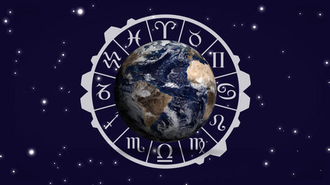 Globe and zodiac sign chart Animation