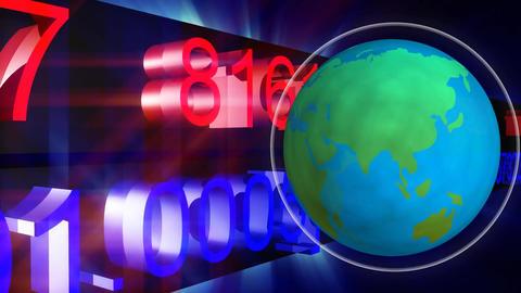 Digital earth rotating against data scrolling Animation