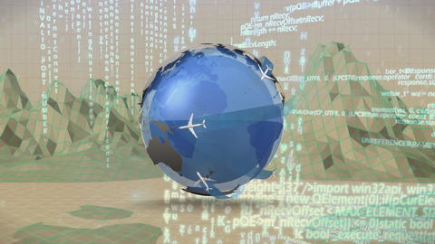 Globe with airplanes while moving through landscape graphs Animation