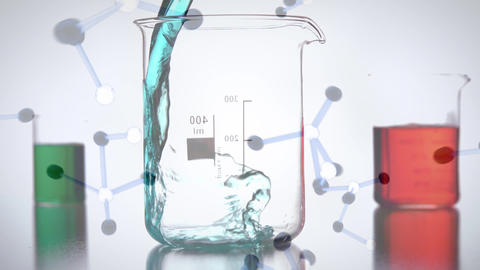 Digital composite of 3D molecules and chemical liquids Animation