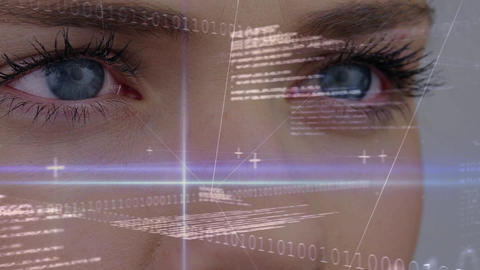 Women blinking her eye with digital data on the foreground Animation
