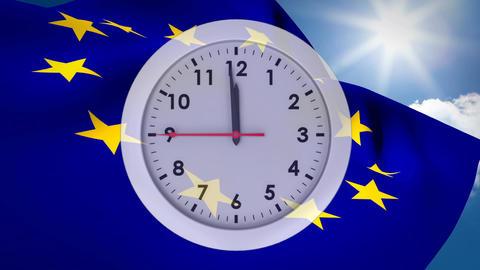 Digital clock against a european and british flag Animation