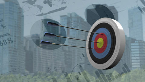Archery target with graphs and charts Animation