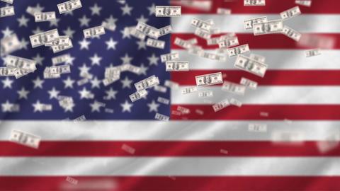 American flag and dollar bills Animation