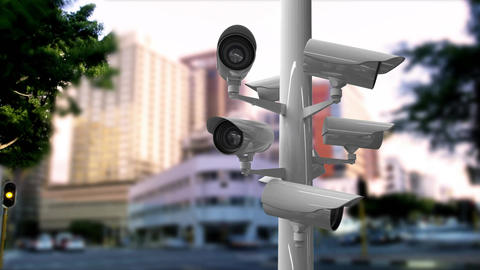 Surveillance cameras in a busy street Animation