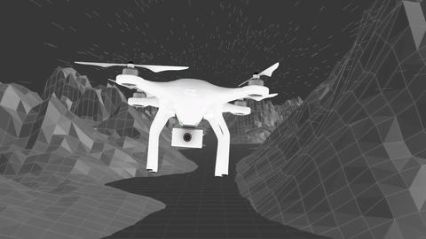 Flying drone over the mountains Animation