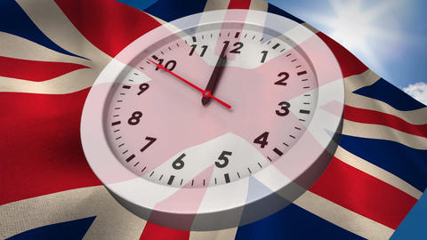 European flag and UK flag waiving behind Analog clock Animation