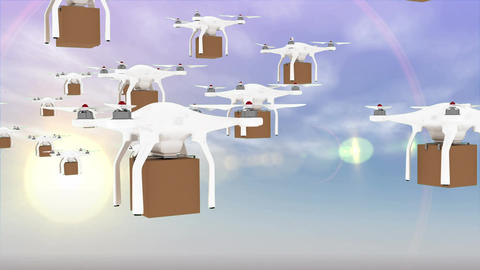 Futuristic deliveries by drones in the sky Animation