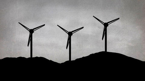 Wind mills on a hill Animation