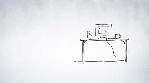 Computer sketch on a table Animation