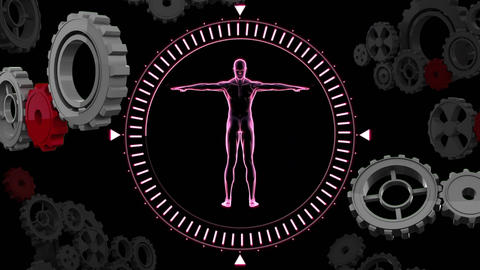 Human anatomy in a circle with gears Animation