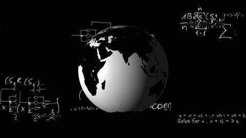 Globe and mathematical equation Animation