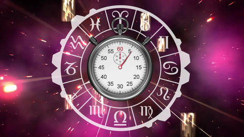 Zodiac signs and stopwatch Animation
