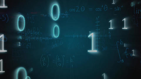 Graphs, mathematical equations, and binary codes Animation