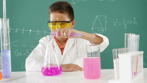 Little boy scientist mixing chemicals 4k Animation