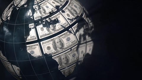 Globe and dollar bills Animation