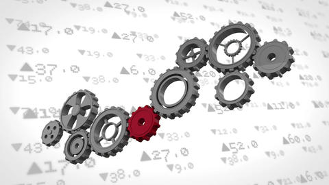Stock market numbers behind cogs Animation