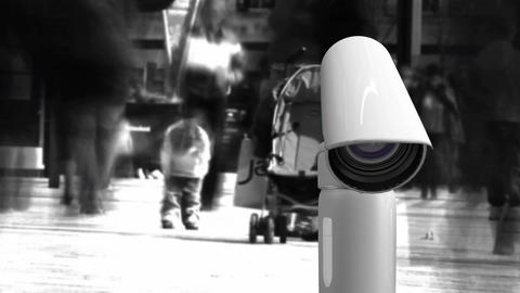 People walking and surveillance camera Animation