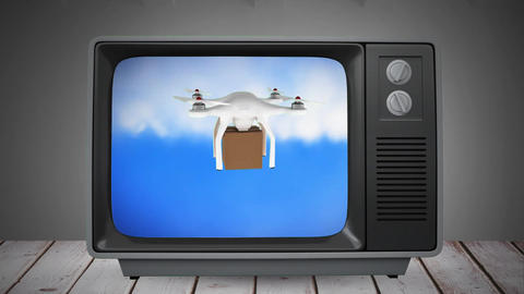 Television with a drone delivery Animation