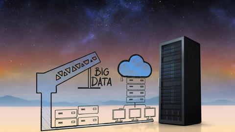 Server towers for cloud storage under the starry sky Animation