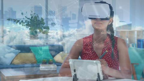 Woman wearing a virtual reality headset 4k Animation