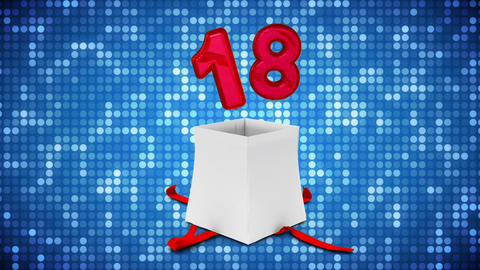 Gift box with number eighteen Animation